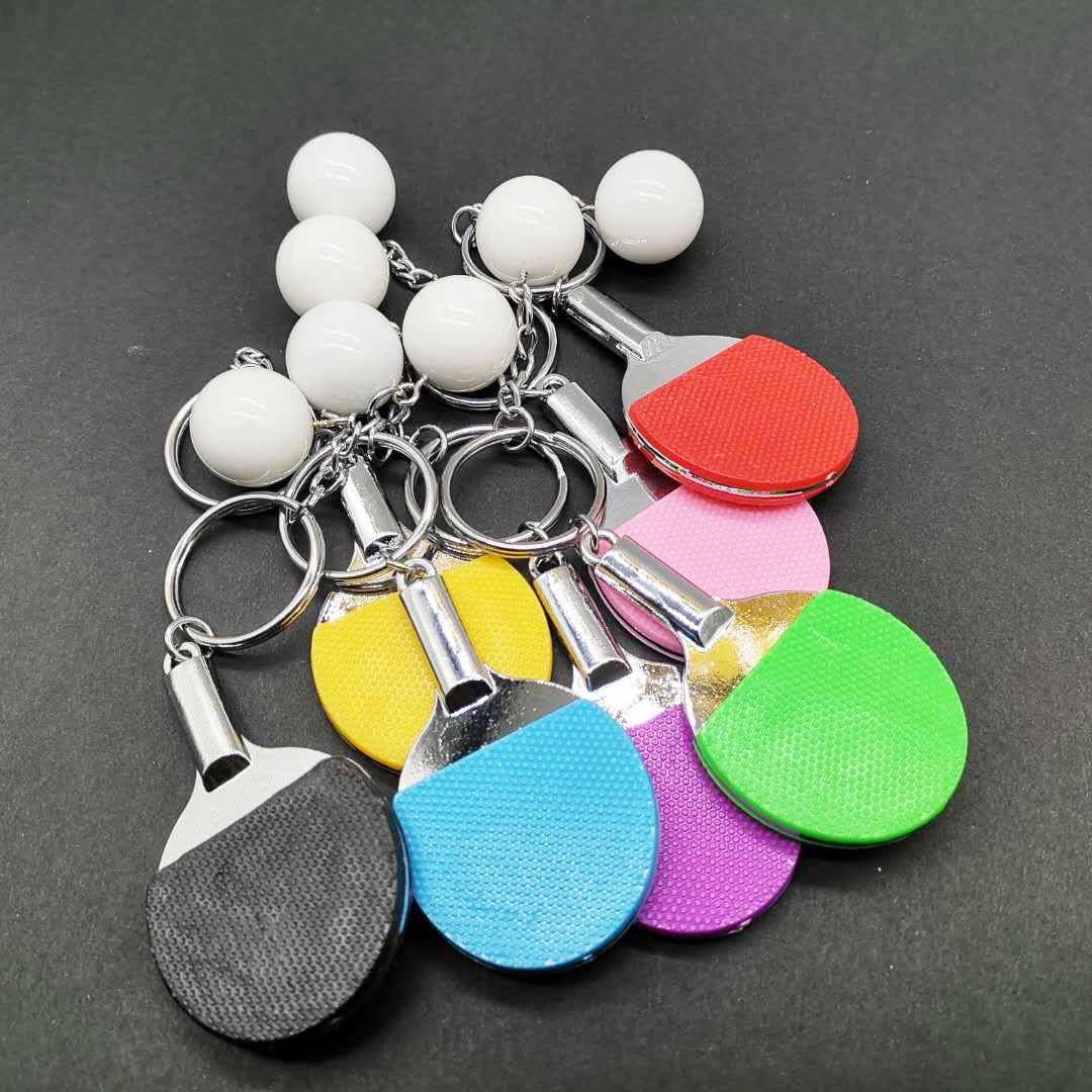 Mini Table Tennis Keychain Bag Charm Pendant Ball Ornaments Women Men Kids Key Ring Sports Fans Souvenir Birthday Gift Wholesale