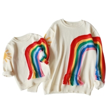 christmas sweaters family Rainbow Family Look  Sweaters Family Matching Outfits Mother & kids Knit Shirts for Mother Son Girl