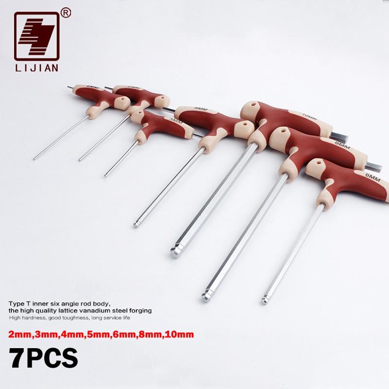 دسته آچار hex LIJIAN T نوع دسته دسته آلن کلید متریک 3mm 4mm 5mm 6mm T-handle Chave Hex Key Wrench Cpanner نیکل