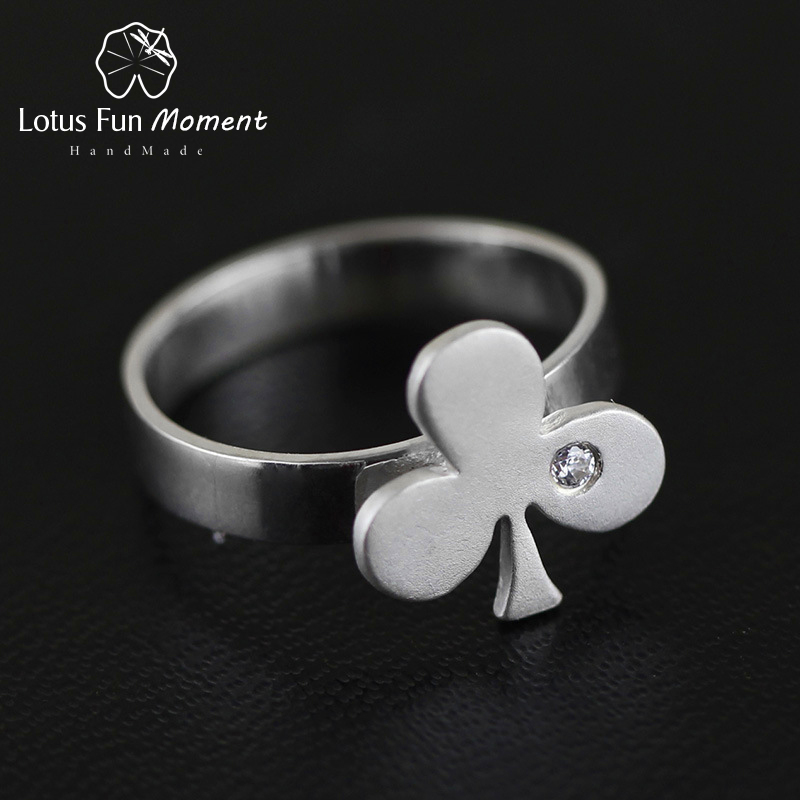 Lotus Fun Moment Real 925 Sterling Silver Natural Original Handmade Fashion Jewelry Playing Cards Image Rings for Women Bijoux