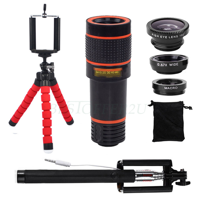 For iPhone 5 6s 7 Samsung 12X Telephoto Zoom Lentes Fisheye Wide Angle Macro Lens+Phone Holder Tripod Clips Wired Selfie Stick