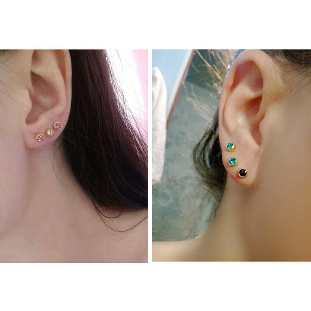 12 paires de mode argent or pierre de naissance oreille Piercing Stud corps bijoux professionnel pour boucle d'oreille pistolet