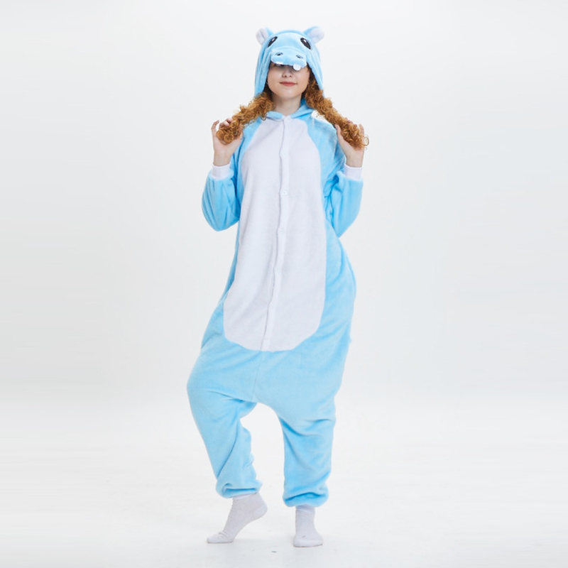 2019 winter flannel animal pajamas cute hippo adult onesie sleepwear cartoon funny pijama stitch male female pyjama new rnio