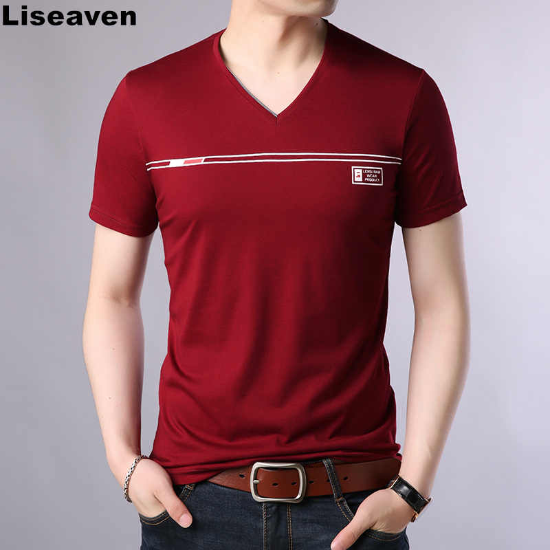 Liseaven T Shirt Casual Short Sleeve V-Neck T-Shirt Men Cotton Top Tees Summer Fashion Brand Clothes