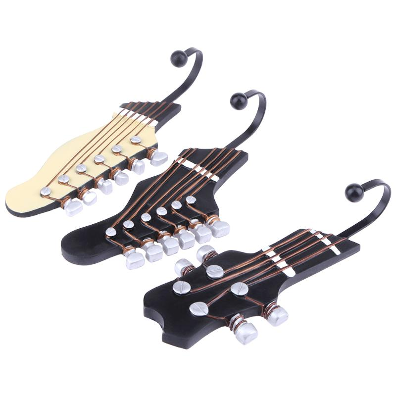 1PCS Retro Guitar Head Wall Mounted Single Hook Hangers Storage Organizer Wall Mount Coat Hanger Home Decor Guitar Parts NEW 2sets lot photo painting picture frame hanging hook hanger wire hangers adjustable hook 1 2meters