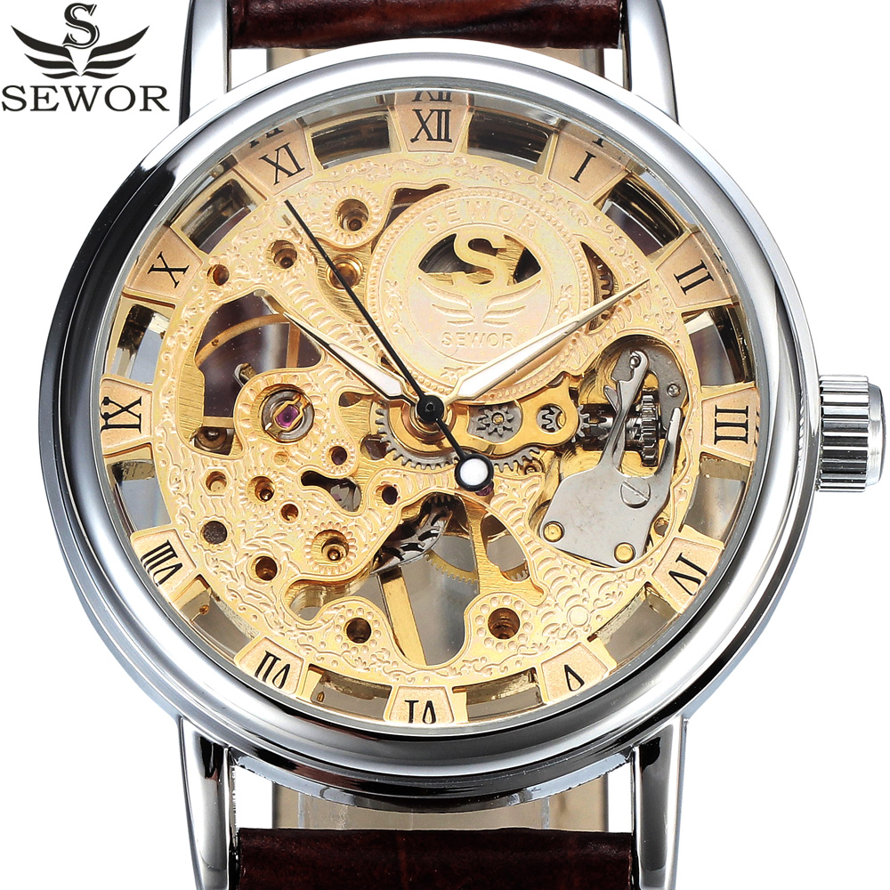 Top Brand SEWOR Gold Men Skeleton Mechanical Watch Men Wristwatches Male Fashion Casual Clock Leather Mens Relogio Masculino casual new fashion sewor brand skeleton men male military army clock classic luxury gold mechanical hand wind wrist watch gift