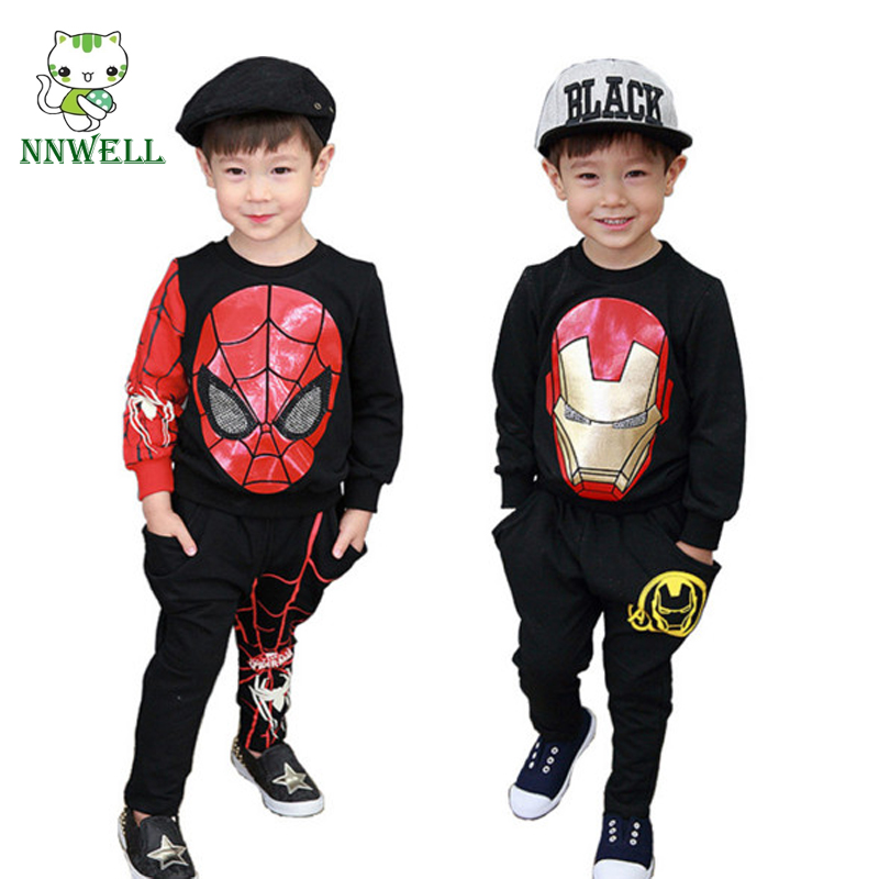 NNW Children T-shirt+PP Pants Suit Iron Man Spiderman Character Clothing Spring and Autumn Version of The Male and Female 1-3Y 165122 the color of the fur ball cartoon fringed hem t shirt wholesale clothing