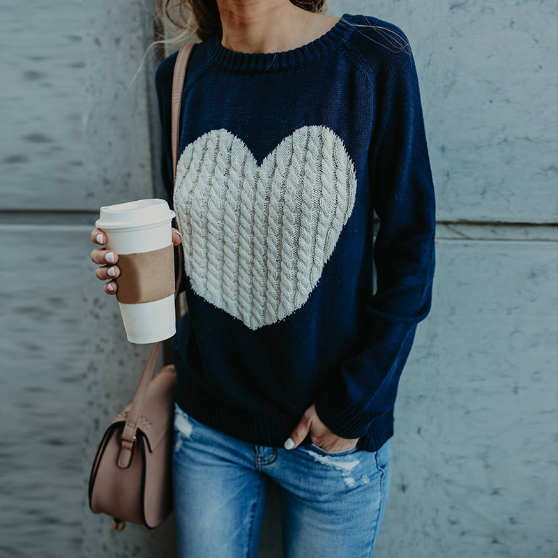 2018 Autumn Heart Printed Sweaters Women Round Neck Casual Pullover Winter Knitted Swearter Pull Femme Valentine Gift WS5420T ...