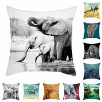 Fuwatacchi Elephant Cushion Cover Wild Animals Pillow Cover for Home Chair Sofa Decorative Pillows 45*45cm Throw Pillows