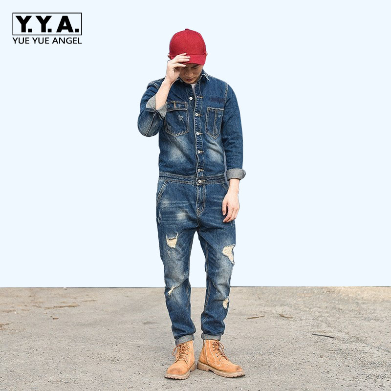 Autumn Retro One Piece Classic Denim Jumpsuit Long Sleeve Cargo Overalls Single Breasted Hole Ripped Jeans Trousers Pockets Pant denim overalls male suspenders front pockets men s ripped jeans casual hole blue bib jeans boyfriend jeans jumpsuit or04