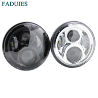 Black Chrome 7 Inch Round High Low LED Front Headlight For Honda Motorcycle CB400 CB500 CB1300