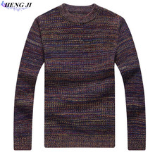 Men's round neck sweater, shirt collar and thick-woven cardigan, large size sweater, winter warmth, high quality, free shipping