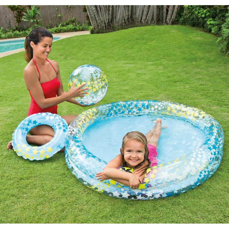 Lovely Inflatable Swimming Water Pool Foldable Home Theater Basin Outdoor Playground Bathtub+Swimming Laps+ Ball Piscina Bebe cute children inflatable swimming water pool ocean ball thick pvc outdoor playground zwembad piscina bebe a107 1