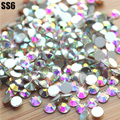 Super Shiny SS6(1.9-2.1mm)1440pcs/Bag Clear Crystal AB color 3D Non HotFix FlatBack Nail Art Decorations Flatback Rhinestones