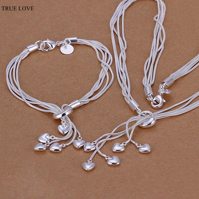 2f2a2a9b2563 S009 collar de corazón de plata Pulsera joyería fija regalo de boda para la  Mujer de calidad superior nuevo diseño Factory Outlet
