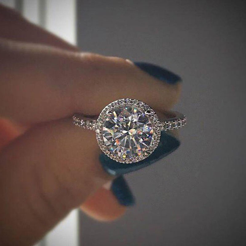 1pcs Womens Exquisite Engagement Ring Simple Geometric Round Crystal Shiny 001 Ring Jewelry Valentines Day Gift Engagement Rings Aliexpress