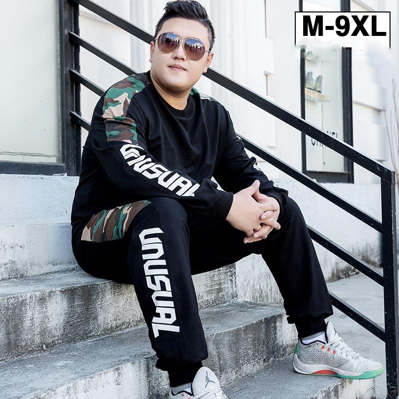 Grande taille M-9XL 2019 hommes marque survêtement Hip Hop Sweatshirts pantalons hommes deux pièces ensemble Jogging Sportswear L