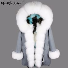 2018 fox fur lining Camouflage fur coat women's outwear detachable winter jacket Large raccoon fur collar hooded coat parkas(China)