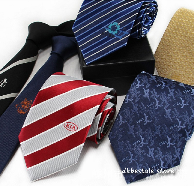 Necktie Customized Logo Silk Tie 8cm 9cm 10cm Men's Business Neckties Neck Tie Ascot Wedding 20pcs/lot