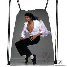 Custom Michael Jackson @1Drawstring Backpack Bag Cute Daypack Kids Satchel (Black Back) 31x40cm#180612-02-28