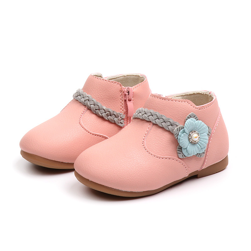 JGSHOWKITO Spring Fall Girls Zipper Anti-skid Soft Sole Princess Ankle Boots Childrens Fashion Shoes With Flower Floral ShoesJGSHOWKITO Spring Fall Girls Zipper Anti-skid Soft Sole Princess Ankle Boots Childrens Fashion Shoes With Flower Floral Shoes