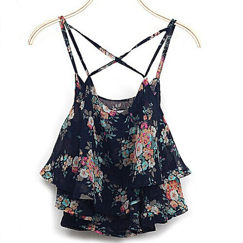 2016 font b Women b font Sexy Summer font b Shirts b font Floral Print Spaghetti