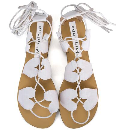 2017New Arrival Summer Sweet Beach Flat With Women Sandals Casual Lace-up Flats Heart Shape Leather Cross Tied Women Shoes 2017 new arrival hot sale fashion summer sweet women flats heel sandals casual buckle strap roman sandals flat flat women shoes