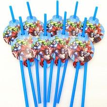 10pcs/lot Cartoon Avengers Party Theme Kids Decoration Disposable Tableware Drinking Straws Birthday Supplies