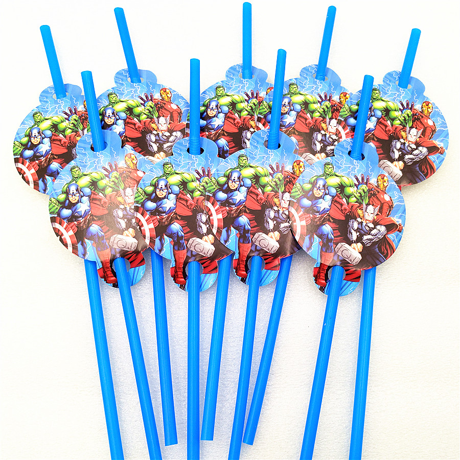 10pcs lot Cartoon Avengers party Theme kids Party Decoration Disposable Tableware Drinking Straws kids birthday Party Supplies in Disposable Party Tableware from Home Garden