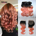 8A Ombre Pink Human Hair With Closure,3/4 Bundles Ombre Brazilian Virgin Hair two tone 1b/rose pink Body Wave With Lace Closure