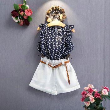 Summer Toddler Kids Baby Girls Clothes Floral T-shirt Tops+Short Pants Outfits Y9101 conjuntos casuales para niñas