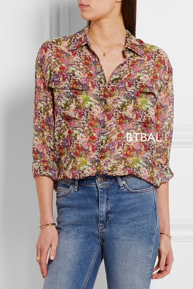 2016SS EQ 100 real silk small flowers ladies long sleeve font b shirt b font EQ