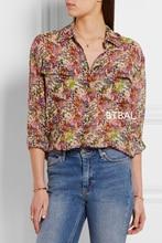 2016SS EQ 100% real silk small flowers ladies long sleeve shirt EQ women blouse