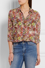 2016SS EQ 100% real silk small flowers ladies long sleeve shirt EQ women blouse