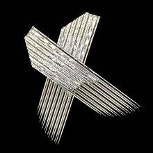 100 adet 2 satır 15 konik Pin kalıcı kaş makyaj İğne bıçakları Microblading manuel kalem 3D nakış çift hat bıçakları
