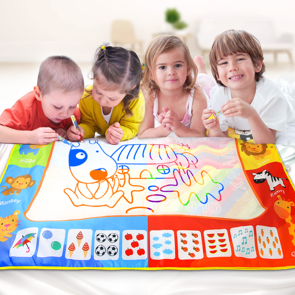 Big Size 120*90cm Water Drawing Mat Rug With Magic Pen Painting Board Kids Carpet Painting Training Educational Toys For Kids