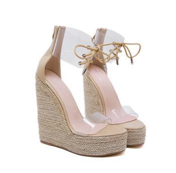 Beige Heeled Sandals Cross-shoes 2019 Women's Strappy Heels Clogs Wedge Female Shoe Pvc Shoes Black Sale Comfort Block Lace Up