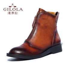 genuine leather shoes new fashion ankle heels motorcycle women boots women's snow autumn winter shoes woman best #Y1101108F