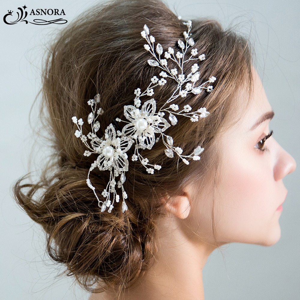 ASNORA Bridal-Headbands Hair-Accessories Pearls Wedding with for New-Arrivals