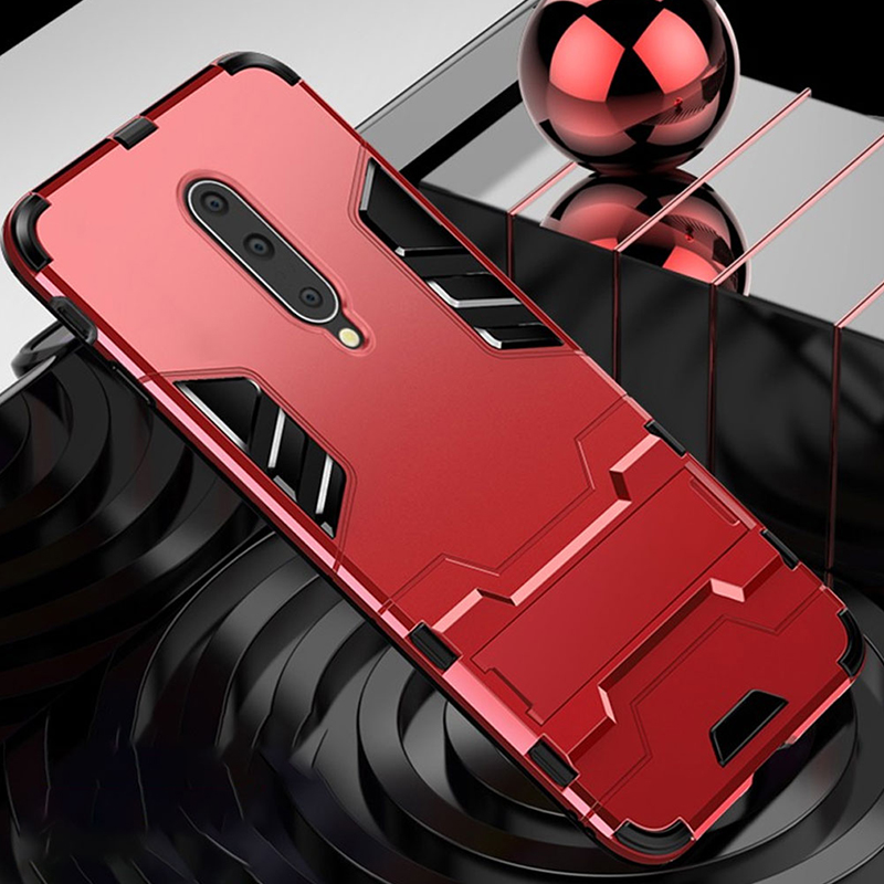 Keajor case For Oneplus 7 7 Pro Case TPU PC Hard Plastic with Stand Dual Hybrid Back Cover On For One plus 7 7 pro phone case in Fitted Cases from Cellphones Telecommunications