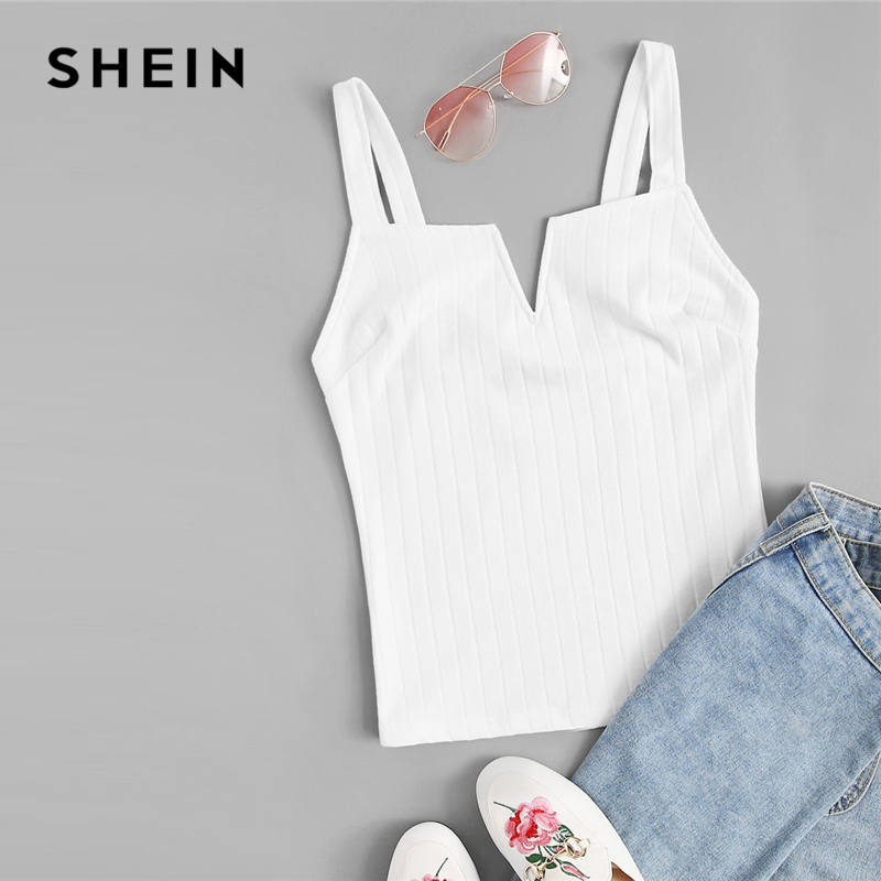 SHEIN Beige Slim Fitted Solid Cami Top Women 2019 Summer Party Minimalist Basics Spaghetti Strap 2019 Vests