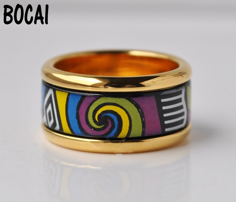 цена на Cloisonne enamel jewelry ring ring decorated with a thick gold ring geometry