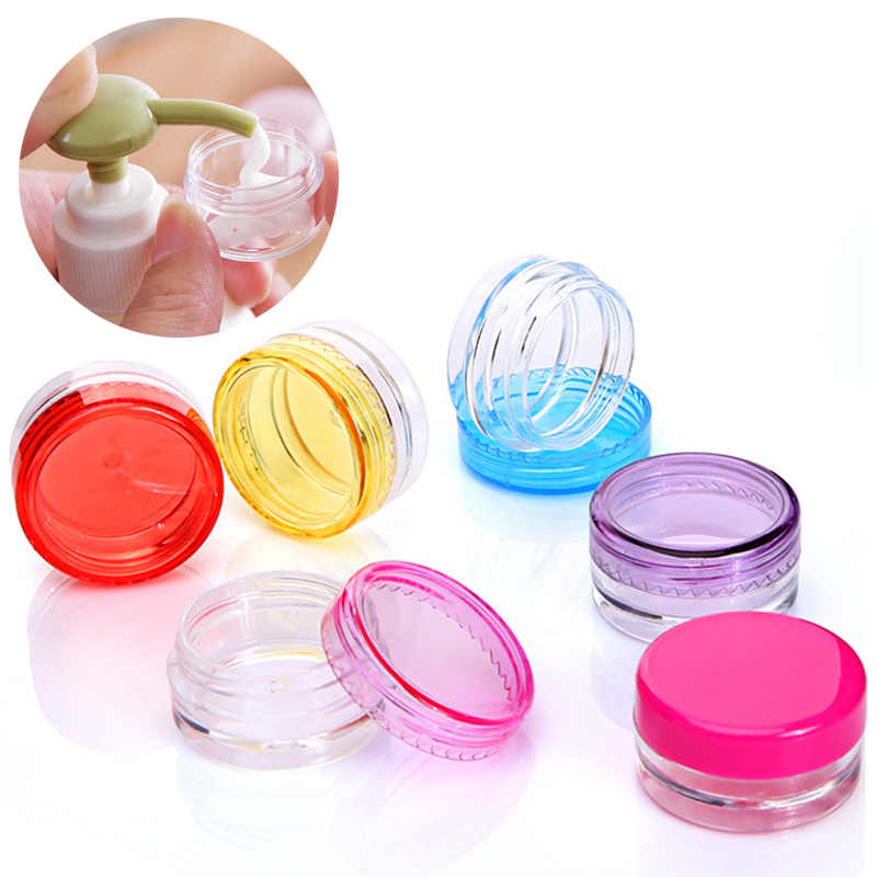 Cosmetic Storage Cosmetics Jar 5PCS/Set Round Bottle Box Transparent Portable 10PCS/Set Makeup Cream Plastic Nail Art