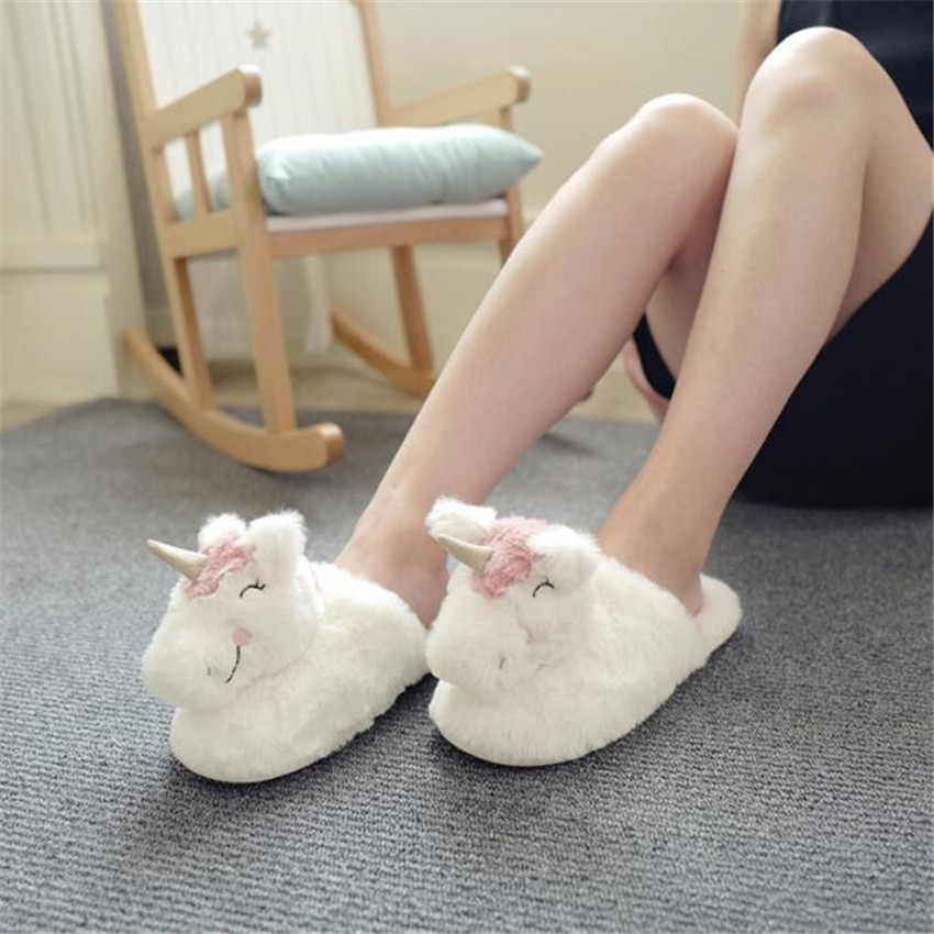 Animal World Lovely Unicorn Cosplay Shoes Keep Warm Cotton Woman Little Horse Slipper Winter Indoor Soft Soled