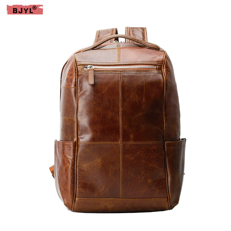 BJYL New genuine leather men's backpack first layer cowhide Korean Laptop bags business male travel casual backpacks 17 inch first layer cowhide leather backpack for men laptop bags genuine leather men backpack casual travel backpacks