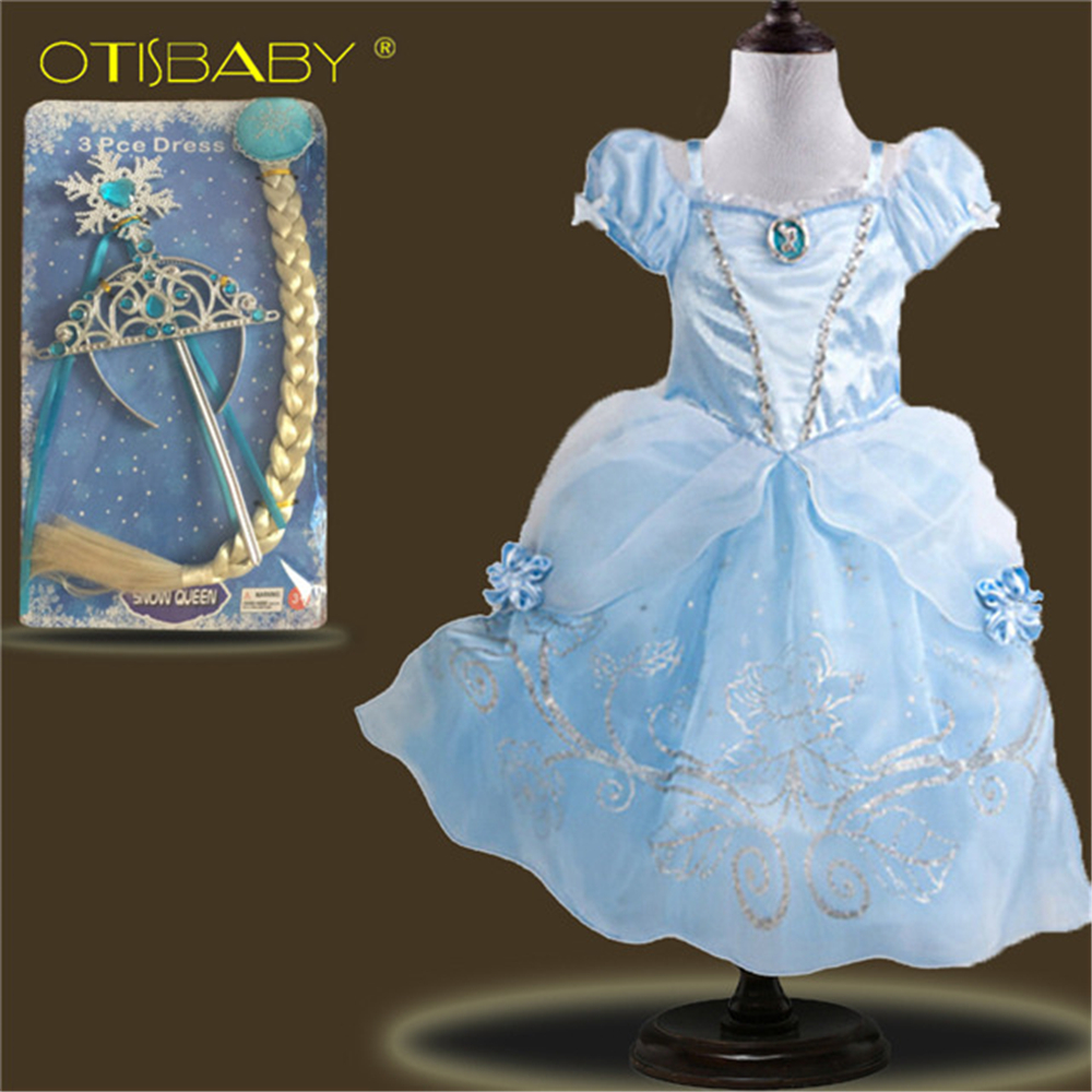 Toddler Girls Summer Fancy Clothing Halloween Cinderella Rapunzel Costume Wig Crown Colorful Girls Belle Sofia Princess Dress