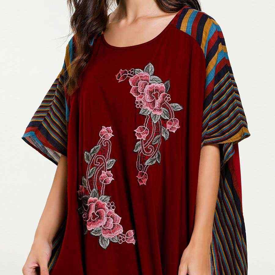 2019 夏のバットウィングスリーブ女性の花刺繍イスラム教徒のドレス色のストライプパッチワークイスラムアバヤドバイアラブガウン VKDR1617