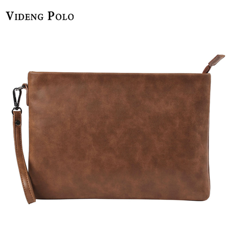 VIDENG POLO New Brand Men Wallets Leather Clutch Bag Male Vintage Handy bag Casual Zipper Purse Big Capacity Carteira Monederos famous brand bag man wallets clutch carteira masculina pu leather carteras male handbags purse men monederos wallets