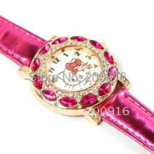 Free Shipping fashion Hello Kitty Quartz Watch Children Girl Women Leather Crystal Watch GRQ605