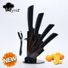"""Myvit бренд Кухонные ножи Кук набор с держателем 3 """"4"""" 5 """"6"""" дюймов Керамика Ножи для шашлыков Кук 8 цветов Ручка черный клинок Ножи для шашлыков"""